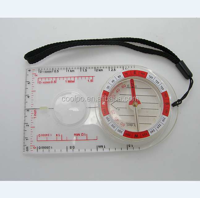Outdoor Hiking Camping Baseplate Map Compass With Measure Ruler magnifier compass manufacturers