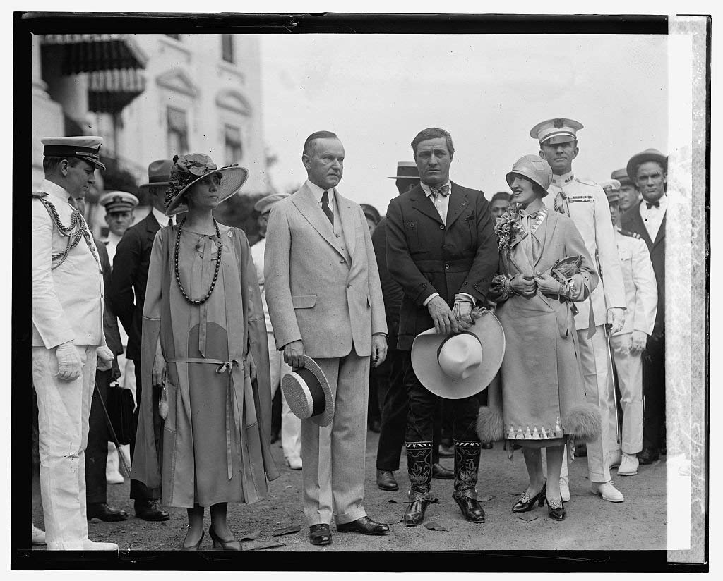 16 x 20 Reprinted Old Photo of Pres. & Mrs. Coolidge & Tom & Mrs. Mix, 5/21/25 1925 National Photo Co 96a