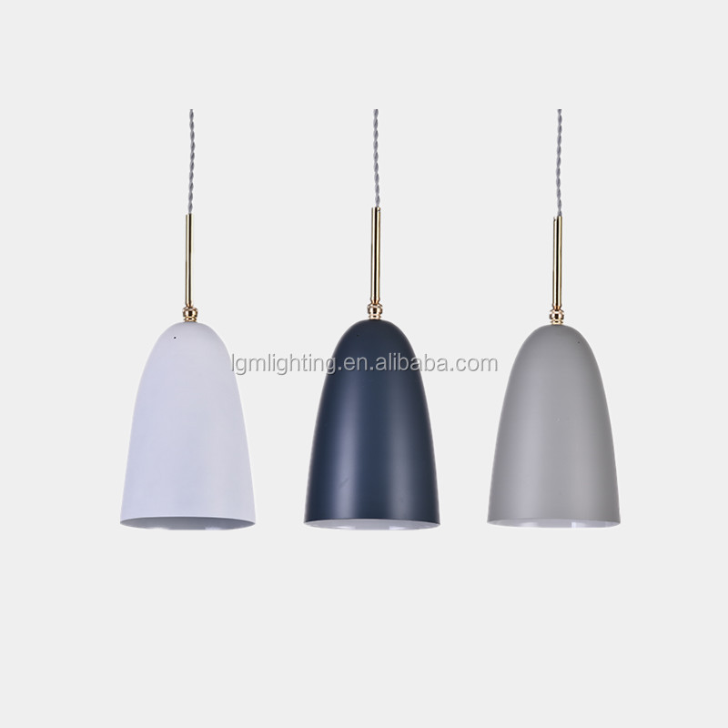 White/grey/blue colorful modern drop lights small dinning pendant lamp