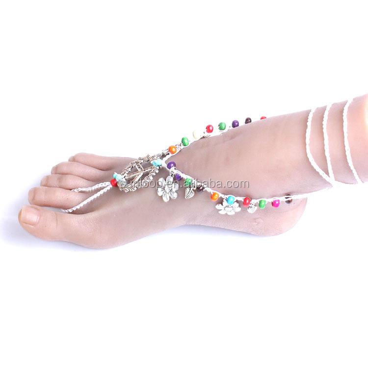 ec6b3336140 Blanco hecho a mano cuerda boda playa pie joyas paz patrón nupcial boda  sandalias descalzas