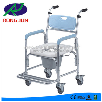 Disabled Toilet Shower Commode Chair With Wheels