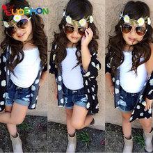 Eudemon girls set 2016 summer style 3 pcs sets kids clothes Cote Vest Shorts toddler