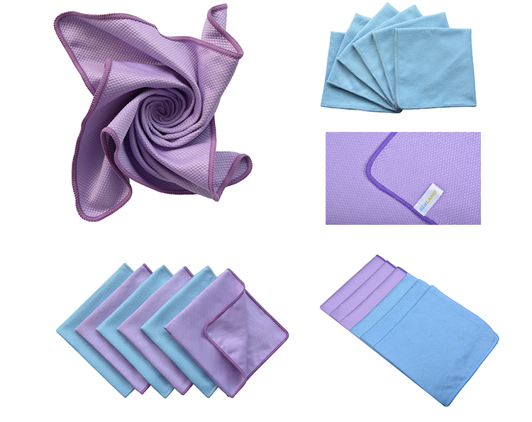 Sunland blue purple microfiber glass kitchen cleaning cloth