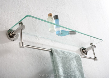 professional bathroom accessories wall mount glass shelf brackets - Bathroom Accessories Glass Shelf