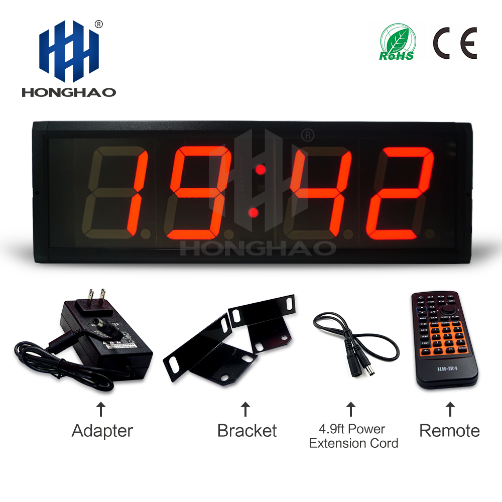 Honghao 4 inch 4 digits led digital gps wall clock with gps sync time every minute