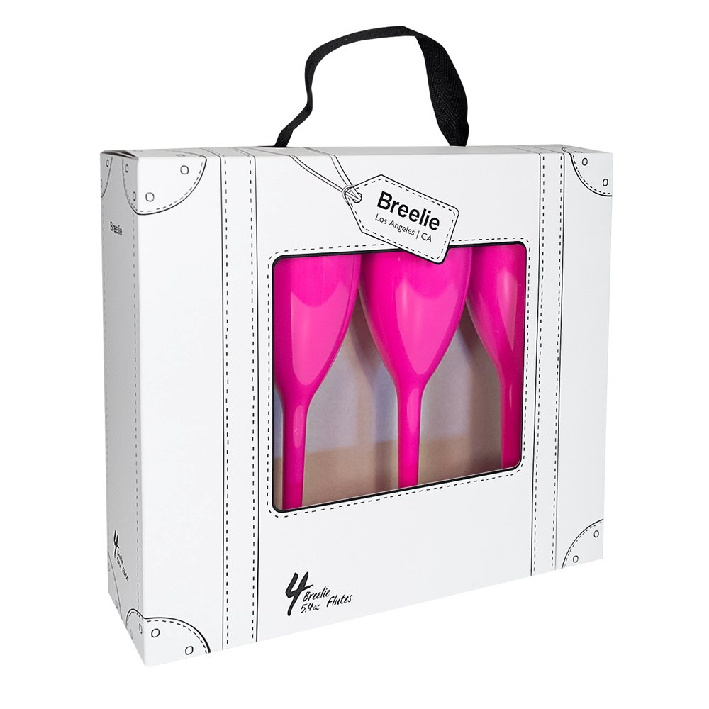 Champagne Flutes by Breelie | BPA Free, Shatter Resistant, Colorful, durable + Perfect for outdoor + Set of 4 Acrylic champagne flutes in designer tote + Available in 10 colors. (The single ladies)