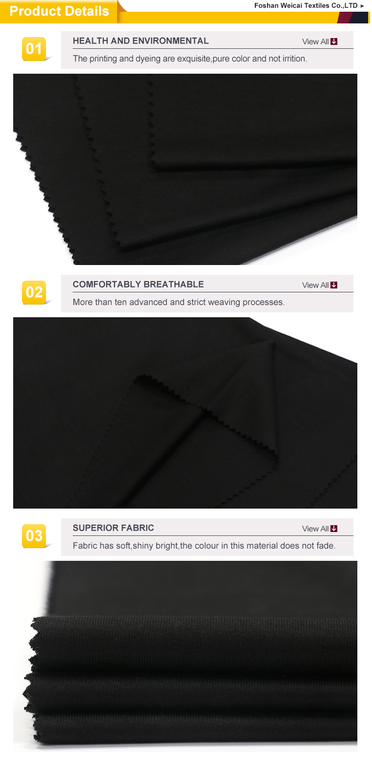 Cotton fabric black twill custom men manufacturer prices names types weight160g T-shirt sports fabric