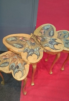 Fancy Elegant Butterfly Shaped Nesting Table Wooden Coffee