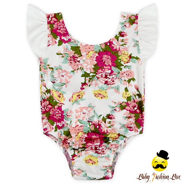 2017 Toddler Girl Clothing Vintage Flower Printed Ruffle Flutter Sleeve Baby Girl One Piece Leotard