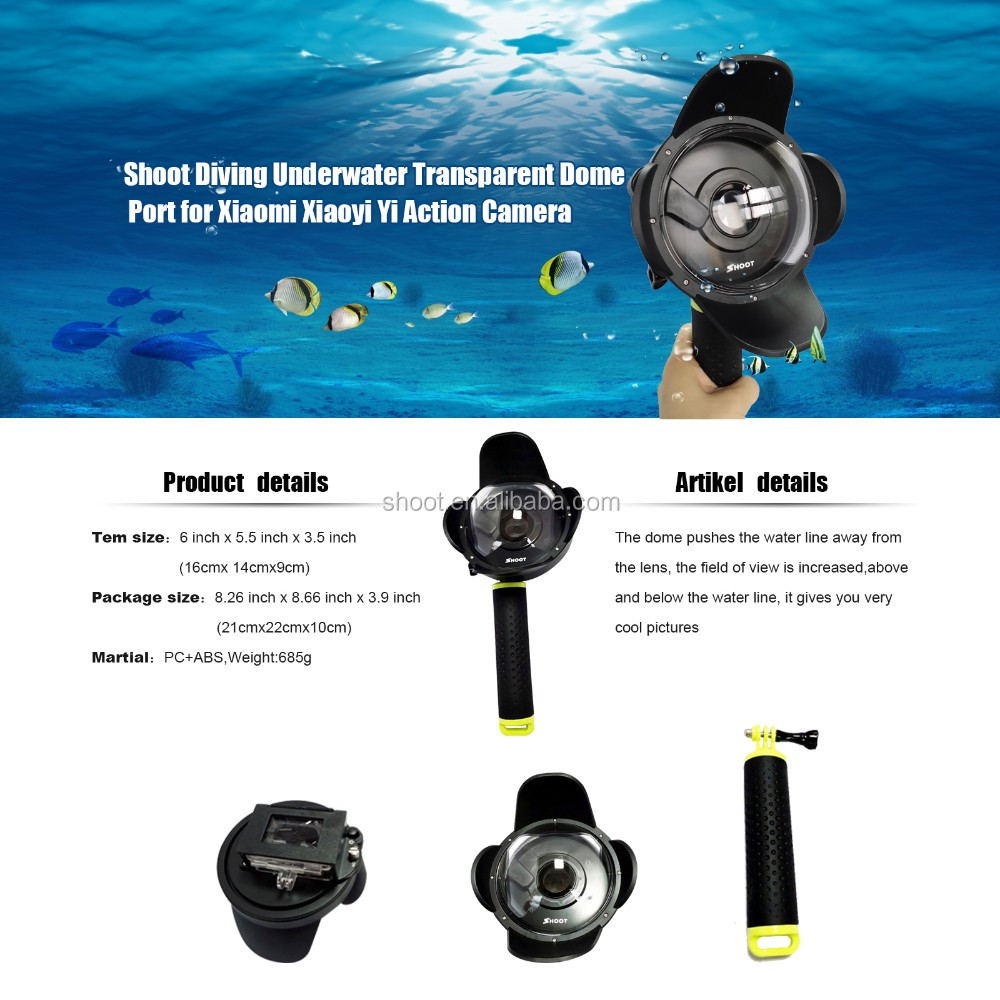 Hottest for Gopro Xiao Yi Waterproof Dome Port+Floaty Bobber for XiaoYi Cam