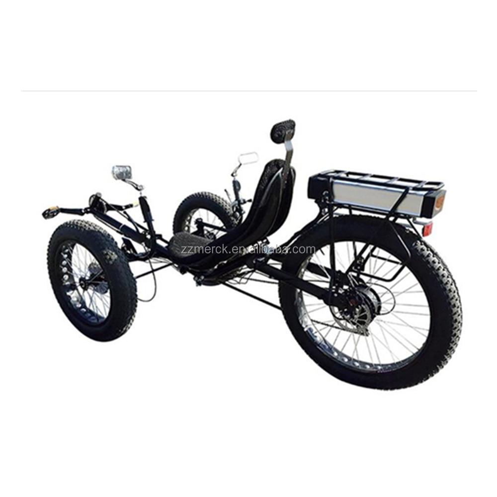 Free Shipping 500W Motor Fat Tire Three Wheel Lay Down Bike Electric Recumbent Velo Bike With 48v 20ah Lithium Battery