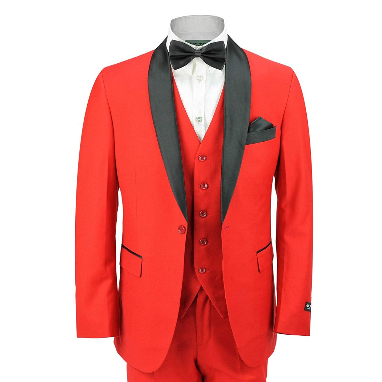 d0914d8100be Get Quotations · XPOSED Mens Black Shawl Lapel 3 Piece Red Formal Suit Slim  Fit Tux Dinner Wedding Prom