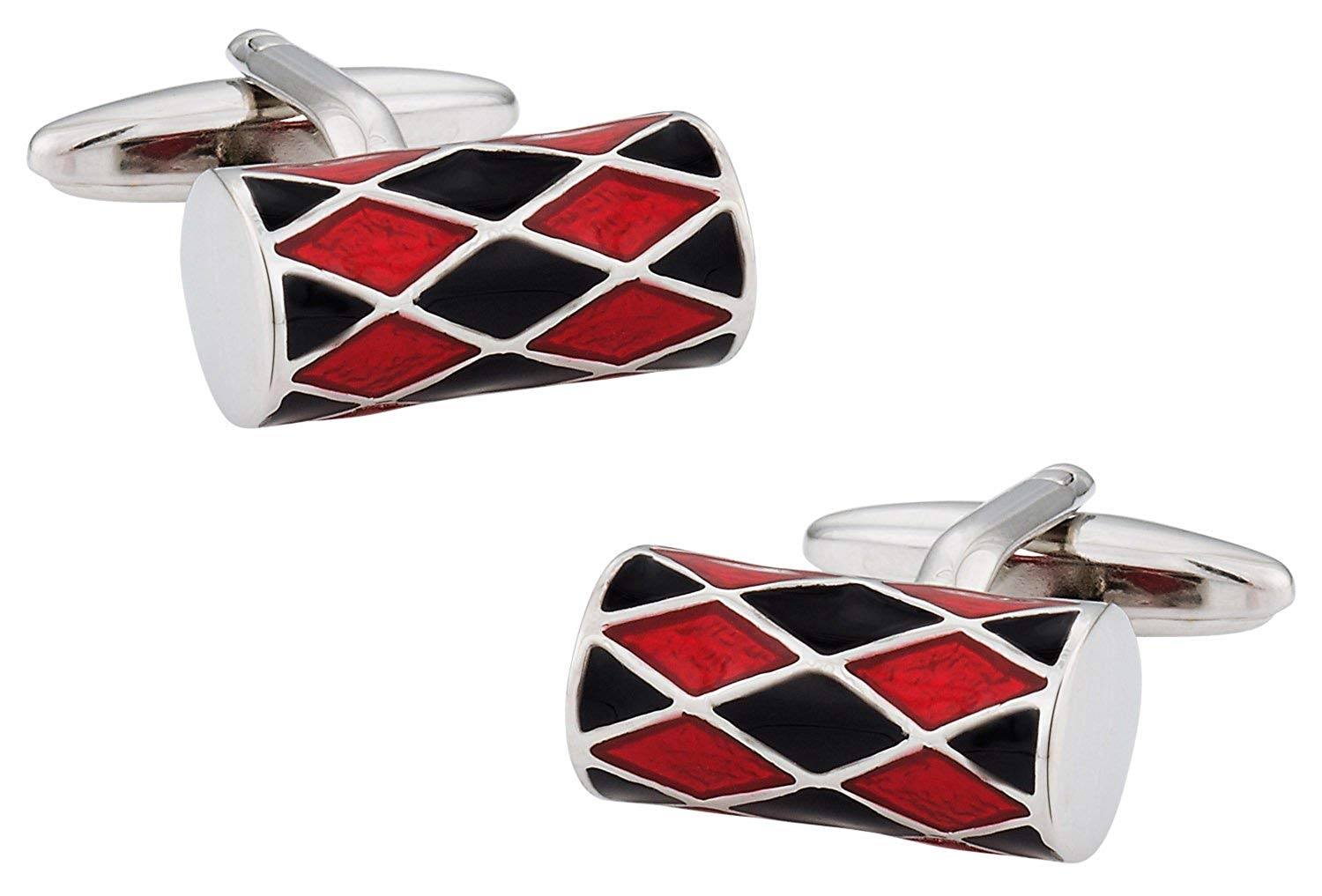 Cuff-Daddy Unique Red & Black Barrel Silver Cufflinks with Presentation Box
