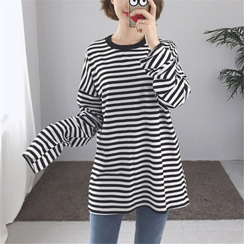 576ab562 Korean Harajuku Black White Striped T-shirt Women Loose Oversize Extra Long  Sleeve Couple T
