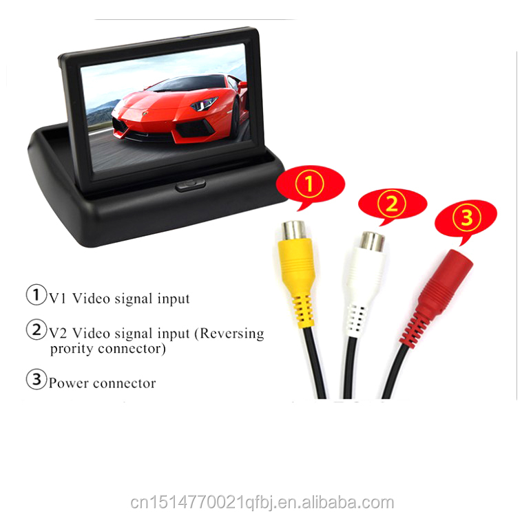 Foldable 4.3Inch Color LCD TFT Reverse Rear view Monitor for Car Back Up Camera