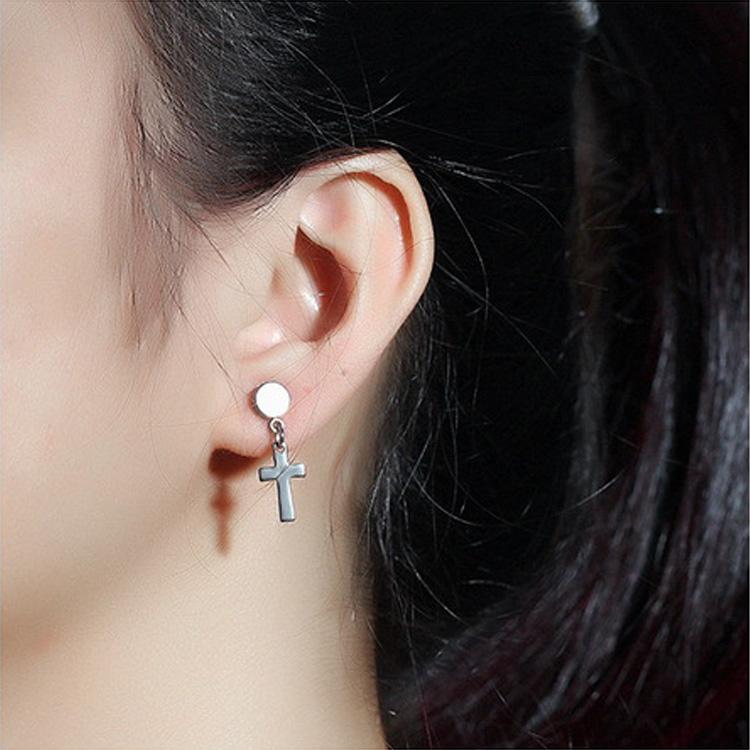 Wholesale Surgical Steel Black Gold Hanging Cross Earrings For Men