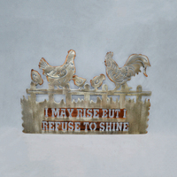 Custom antique Brushed Metal I MAY RISE sign cocks Wall farmhouse Art Decor