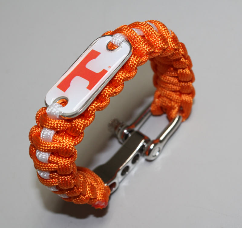 TENNESSEE VOLUNTEERS ncaa team dog tag paracord bracelet