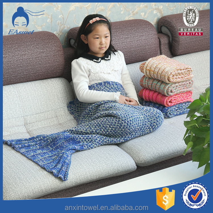 Manufactory wholesale alibaba china home textile Kids mermaid tail Cotton blanket