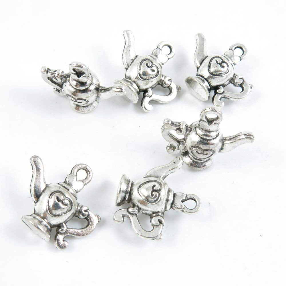Price per 120 Pieces Silver Tone Jewelry Making Charms Supply T4RX1 Wine Pot Teapot Tea Kettle