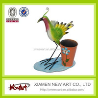 Latest new design hot sale metal mini flower pot with bird aniamals