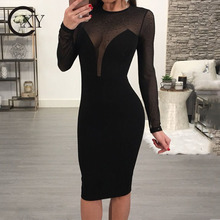 Custom Made Women New Fashion Sexy Sheer V Neck Long Sleeve Black Bodycon Dress