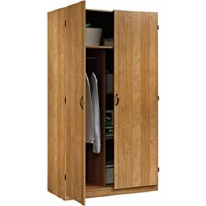 "SDR Beginnings Wardrobe and Storage Cabinet with Adjustable Shelves, Highland Oak, 2 adjustable shelves, Full upper shelf, Enclosed back panel, lots of storage 39.8""W x 20""D x 71.5""H"