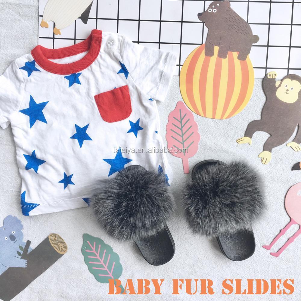 0ca424db948 Soft Children Fox Fur Slippers  Kids Real Fur Sandals  Baby Fur Slides