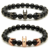 Luxury Men's and Womem's Natural Jewelry Black Agate Onxy Beads Stainless Steel Beads Circle Charms Bracelet Gift