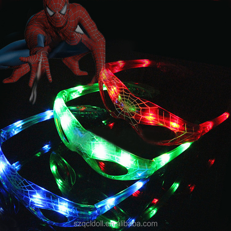 Plastic Party Sunglasses Unique Design Spider Light Glasses Flashing Men Net Plastic Party Sunglasses For Halloween
