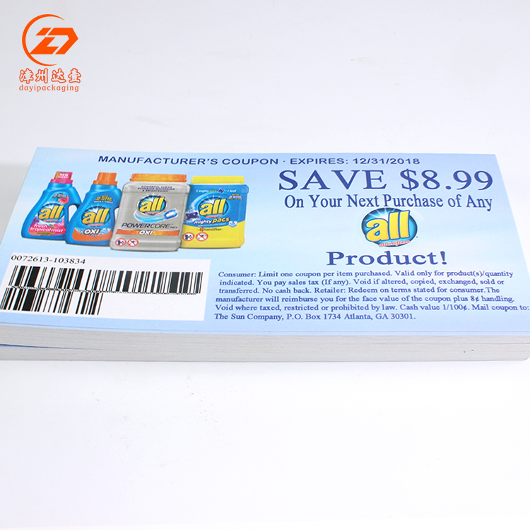 custom made cheaper paper lucky draw coupon printing
