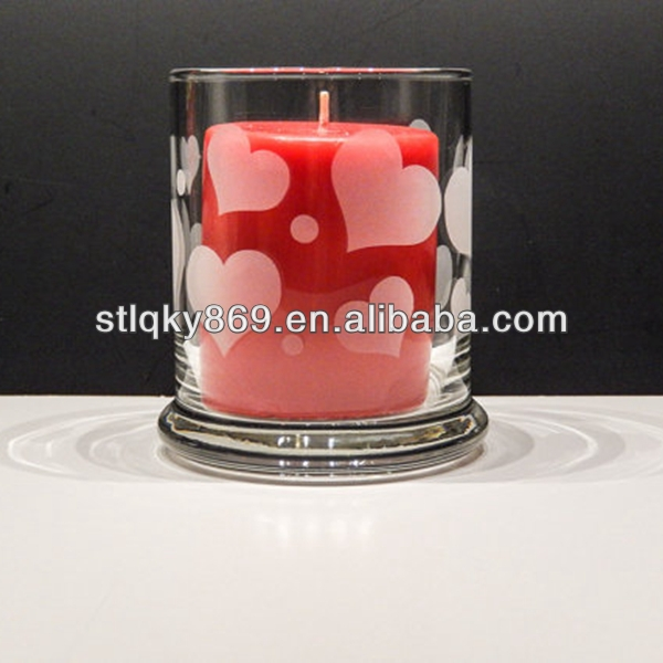 promotional crystal glass votive candle holders glass candle holder heart shape decorection clear glass candle holder
