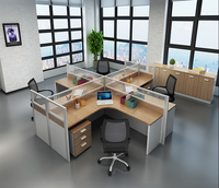 Modern and simple round Office Furniture Executive Office Desk with Side Table and Cabinets