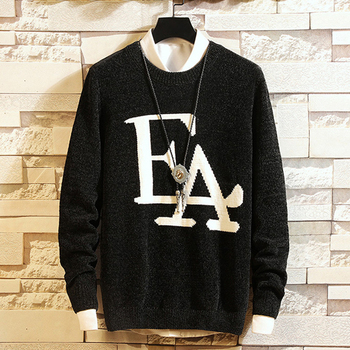 chenille polyester Men's Sweater Thickened Round-collar Warm jacquard wholesale male sweater