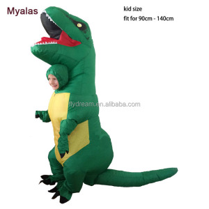 Inflatable Kids Dinosaur T REX Costume Green Halloween Inflatable Party Costume For Kids 4 to 8 Years Old Tall Less Than 130cm