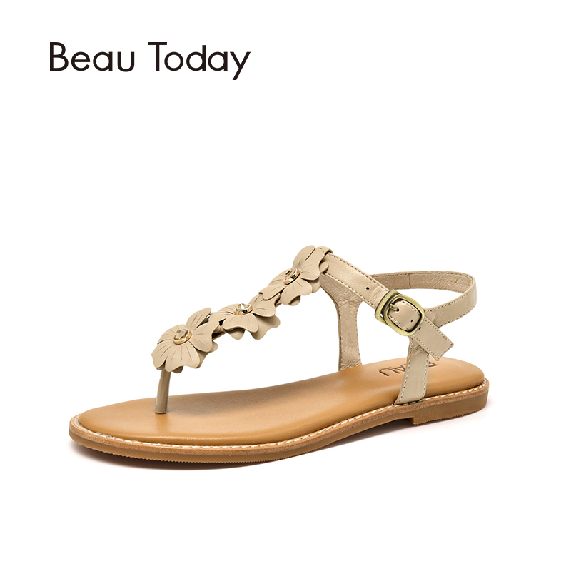 Women Sandals Genuine Leather Sheepskin Crystal Flower Decoration T-strap Wholesale Handmade Ladies Shoes 32076