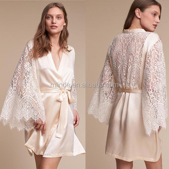 First Night Nighty Photos Women New Sexy Bell Sleeves Lace Satin Bohemian  Robe Silk Satin Dress c08f2c4d4