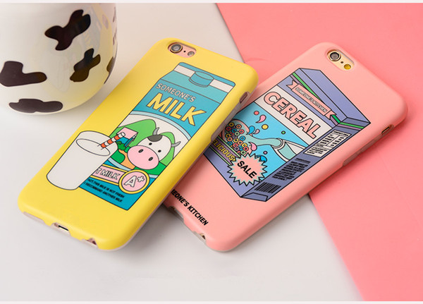 Best Quality Cute Cereal of milk and Boxes of milk IMD craft TPU phone cases for iphone6 iphone6+