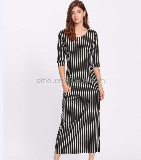 Euro Custom Customized latex clothing china wholesale short sleeve stripe fall maxi one size fits all dress