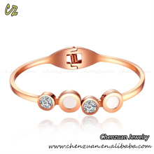 Latest new stainless steel women plain stainless steel screw bangle with zircon
