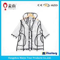 Maiyu high quality women men waterproof transparent rain jacket