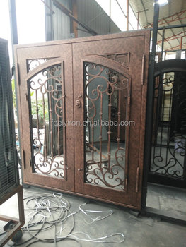 Elegant Wrought Iron Exterior Doors Double Entry