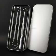 5 Pcs Stainless Steel Dental Hygiene Kit with Plaque Tartar Remover Mouth Mirror In Tin Box for Dentist Home Use Tools