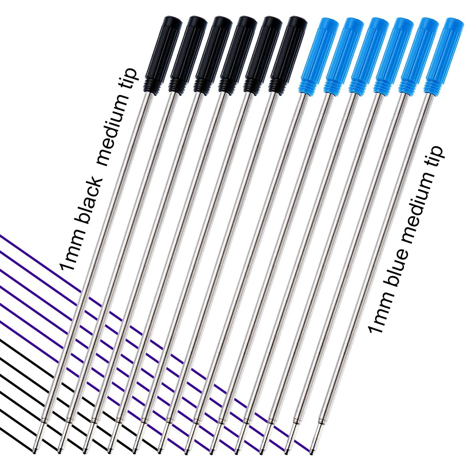 TecUnite 4.5 Inch 12 Pieces Ballpoint Pen Refills Replaceable Smooth Writing Ballpoint Refill with Black Velvet Bag, Black and Blue