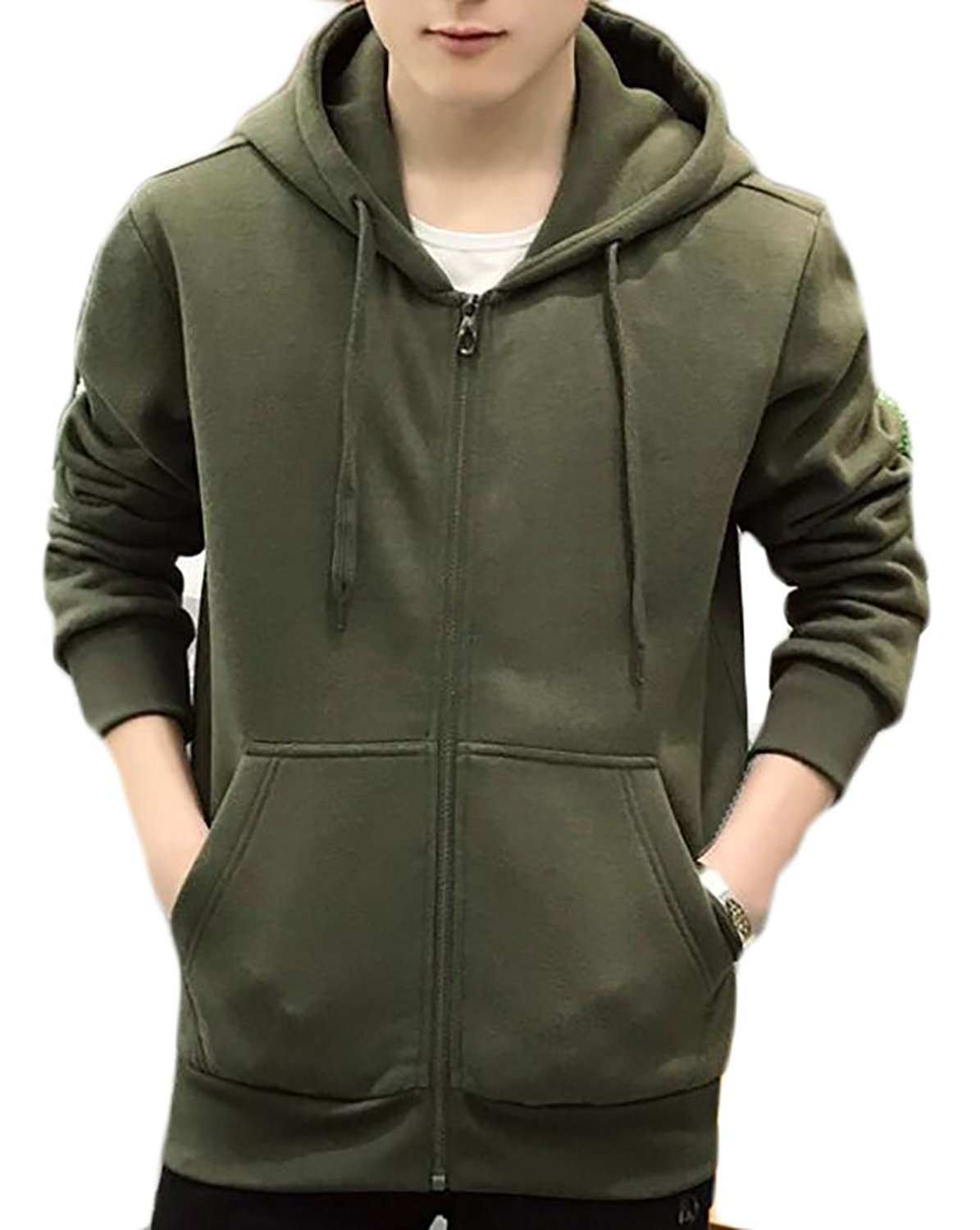 Oberora Mens Casual Solid Color Hoodies Front Zip Classic Sweatshirt Jackets