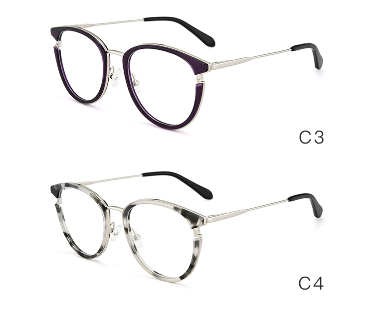 Fashionable italy designer acetate combine metal cat eye optical frames in stock