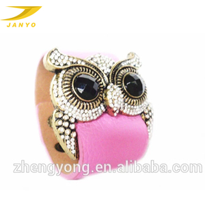Fashion wide leather bracelets for women with coral owl head