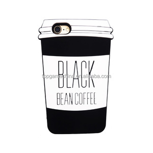 Classic bottle Black Bean Coffee Cup Soft Silicone Cell Phones Case Cover For iPhone 8 8 7 7 PLUS 6 6S