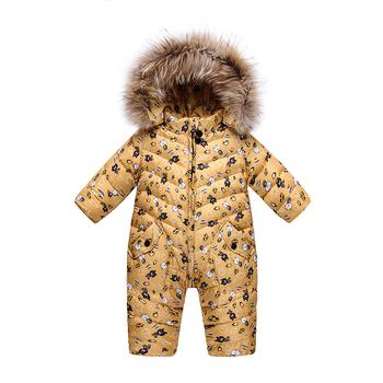 53e3e831b Children winter jumpsuit fleece Rompers girl winter coat hooded baby boys  jumpsuit warm winter baby rompers