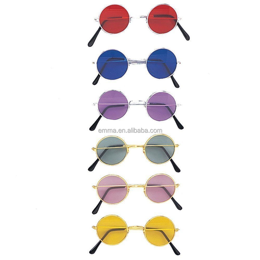 ee3d3619bf Novelty John Lennon Style Round Tinted Glasses sunglasses (Hippie 70s 80s Fancy  Dress) TG17057